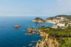 Panoramic view of Tossa de Mar Costa Brava Spain. Bay with boats royalty free stock photo