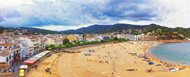 Panoramic view of Tossa De Mar at stormy weather Stock Image