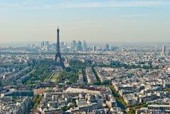 Panoramic view on Tour Eiffel and La Defense, Pari Stock Images