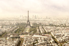 Panoramic view on Tour Eiffel, Paris Royalty Free Stock Image