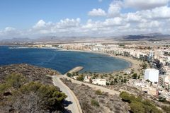 Panoramic view of the touristic West Beach of Águilas town, province of Murcia, Spain. A panoramic view of the West Beach of the touristic Águilas town Royalty Free Stock Photography