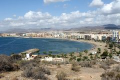Panoramic view of the touristic West Beach of Águilas town. Panoramic view of the touristic West Beach or west bay of Águilas town, province of Murcia royalty free stock images