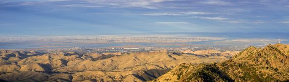 Panoramic view towards San Joaquin river, Pittsburg and Antioch from the summit of Mt Diablo. North Peak in the foreground, Mt Diablo SP, Contra Costa county stock photography