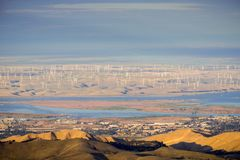 Panoramic view towards San Joaquin river, Pittsburg and Antioch from the summit of Mt Diablo. Wind turbines in the background; Mt Diablo SP, Contra Costa Royalty Free Stock Images