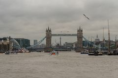 Panoramic view of the Tower Bridge in London viewed from the Thames river Royalty Free Stock Photo