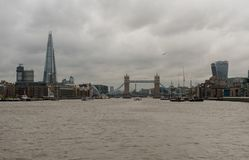 Panoramic view of the Tower Bridge in London viewed from the Thames river in late October Royalty Free Stock Photography