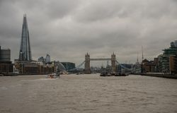 Panoramic view of the Tower Bridge in London viewed from the Thames river in late October Royalty Free Stock Photo
