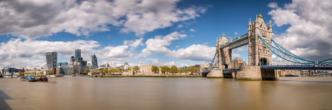 Panoramic view of Tower Bridge and Tower of London Stock Photos