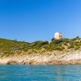Panoramic view of  tower at San Felice Bay; Apulia, Italy. Apulia coast:panoramic view of tower at San Felice Bay  Italy Royalty Free Stock Photography