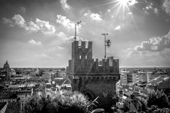 Panoramic view of the tower of Udine castle, Italy. Panoramic cityscape Udine, Italy, tower of Ancient City Castle, black and white Royalty Free Stock Image