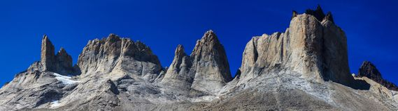 A panoramic view of the towers of granite at the top of the French Valley in Torres del Paine National Park, Patagonia. A panoramic view of the huge towers of Stock Image