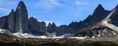A panoramic view of the towers of granite at the top of the French Valley in Torres del Paine National Park, Patagonia. A panoramic view of the huge towers of Royalty Free Stock Photo