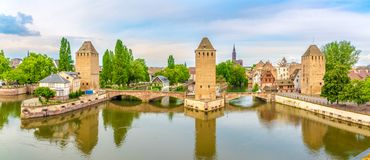 Panoramic view at the Towers of Ponts Couverts from Barrage Vauban bridge in Strasbourg - France. Panoramic view at the Towers of Ponts Couverts from Barrage royalty free stock photo