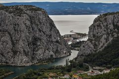 Panoramic view of town on Adriatic with amazing canyon of river, Dalmatia, Croatia stock photos