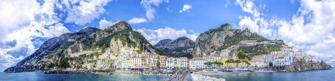 Panoramic view of the town of Amalfi on coast in Italy. Panoramic view of the town of Amalfi, with the Amalfi Cathedral in the center in Italy, Mediterranean stock photo