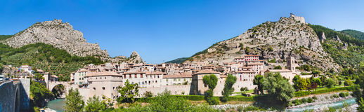 Panoramic view on town Entrevaux, France. Mountains and old fortification castle. Royalty Free Stock Image