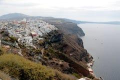 Panoramic view of the town of Fira, Santorini, Greece Stock Photos