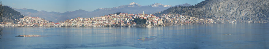 Panoramic view town with icy lake Royalty Free Stock Photo