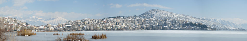 Panoramic view of town and lake covered with snow Royalty Free Stock Images