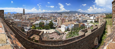 Panoramic view of the town of Malaga as seen from the Alcazaba, Andalusia Stock Photos
