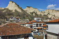 Panoramic view of town of Melnik and sand pyramids, Bulgaria Stock Images