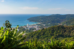 Panoramic view of the town of Patong and beach. Phuket, Thailand Royalty Free Stock Image