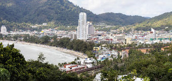 Panoramic view of the town of Patong and beach, Phuket Stock Photo