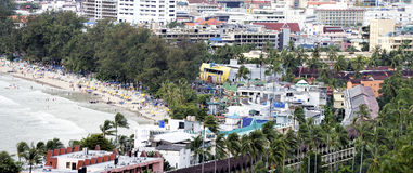 Panoramic view of the town of Patong and beach, Phuket Royalty Free Stock Images