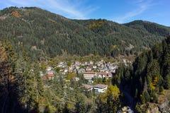 Panoramic view of town of Shiroka Laka and Rhodope Mountains, Bulgaria Stock Image