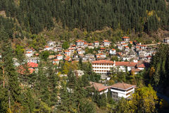 Panoramic view of town of Shiroka Laka and Rhodope Mountains, Smolyan Region Royalty Free Stock Photography