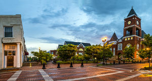 Panoramic view of town square Stock Photo
