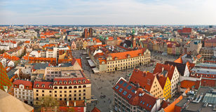Panoramic view on town square, Wroclaw, Poland Royalty Free Stock Image