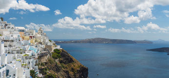 Panoramic view of the town of Thira, Santorini, Greece Royalty Free Stock Images