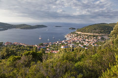 Panoramic view of the town of Vis Stock Images