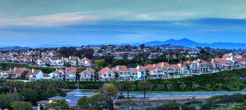 Panoramic view of tract homes along the Dana Point coast Stock Images