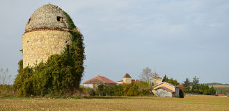 Panoramic view of the traditional French village in Gascony Stock Photography