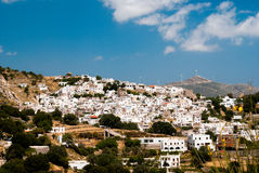 Panoramic view of traditional village on Naxos island Stock Photos