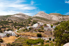 Panoramic view of traditional village on Naxos island Stock Photography