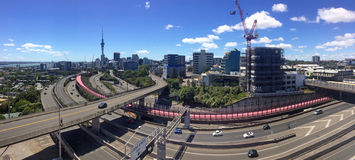 Panoramic view of traffic on Auckland city motorway Royalty Free Stock Photos
