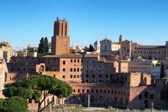 A panoramic view on Trajan`s Market Mercati Traianei on the Via dei Fori Imperiali, in Rome, Italy Royalty Free Stock Photo