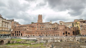 A panoramic view on Trajan's Market timelapse hyperlapse on the Via dei Fori Imperiali, in Rome, Italy stock video