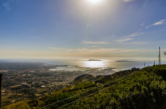 Panoramic view of Trapani and the Egadas Islands royalty free stock image
