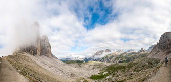 Panoramic view of Tre Cime di Lavaredo, Italy. Valleys and Alpin Stock Photography