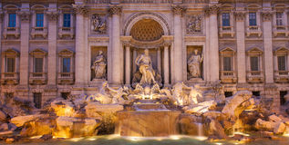Panoramic view of the Trevi Fountain. In Rome, Italy royalty free stock image