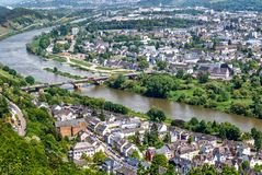 Panoramic view of Trier, the oldest german city Stock Photos