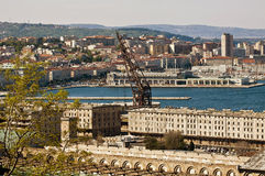 Panoramic view Trieste harbor Royalty Free Stock Photo