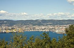 Panoramic view of Trieste waterfront Royalty Free Stock Images