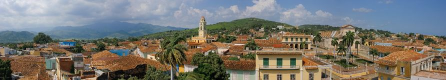 Panoramic view of Trinidad city seen from the the City Museum tower. TRINIDAD, CUBA -SEPT 17 2011- Panoramic view of Trinidad city seen from the the City Museum stock images