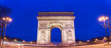The panoramic view of Triumphal Arch in early morning , Paris, France. stock photography