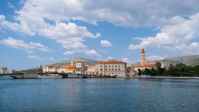 Panoramic view of trogir city at morning of a beautiful 2018 summer day stock photos